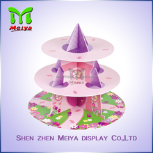 Customized 3-tier Colorful Full Printing Paper Cardboard Cake Stands Display Cupcake stand for Christmas