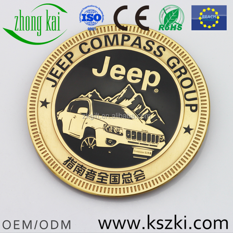 COMPASS GROUP Club round gold metal car emblem with car name, custom car pattern design, small orders are accepted