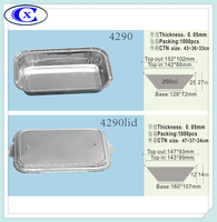 High quality cheap price disposable airline food trays airline tableware foil aluminum containers model 4290
