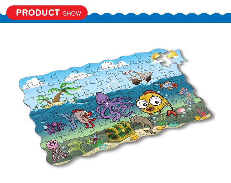 Custom kids favorite cute cartoon style sealife coloring cardboard for jigsaw puzzle