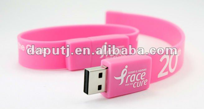 Promotional Wristband Style Flash Drives with custom logo and different size storage device.