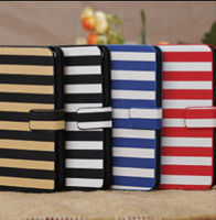 Stripe Pattern Stand Holder Wallet Leather Case For iPhone 5C