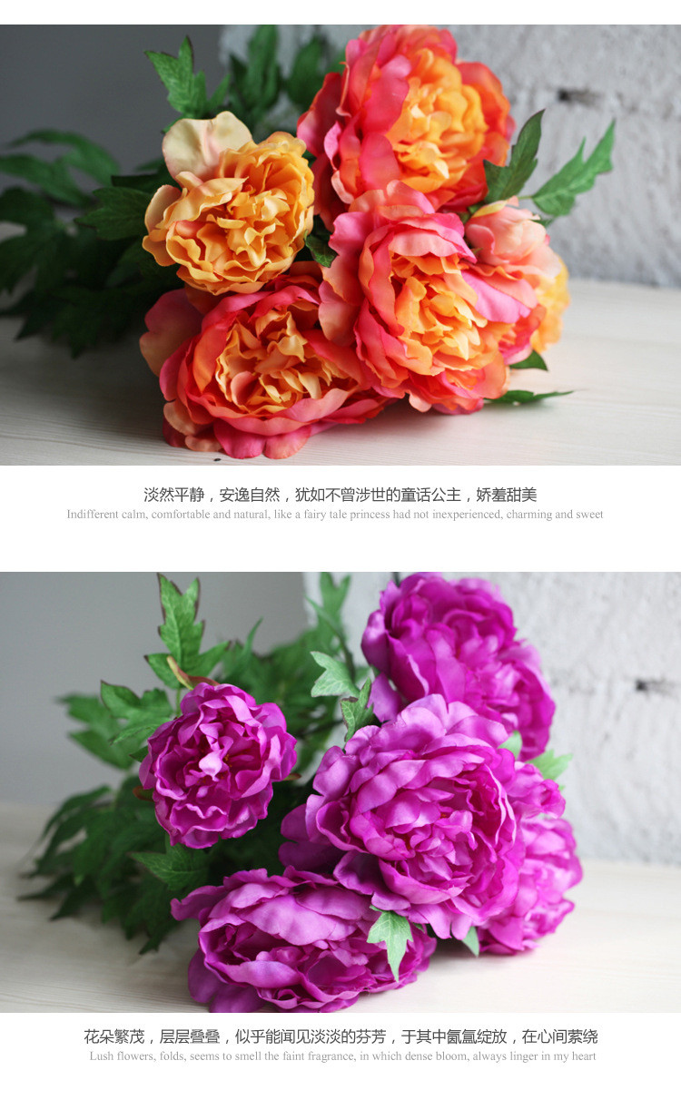 Peony Artificial Artificial Flower Bouquet Large Silk Peony Flowers
