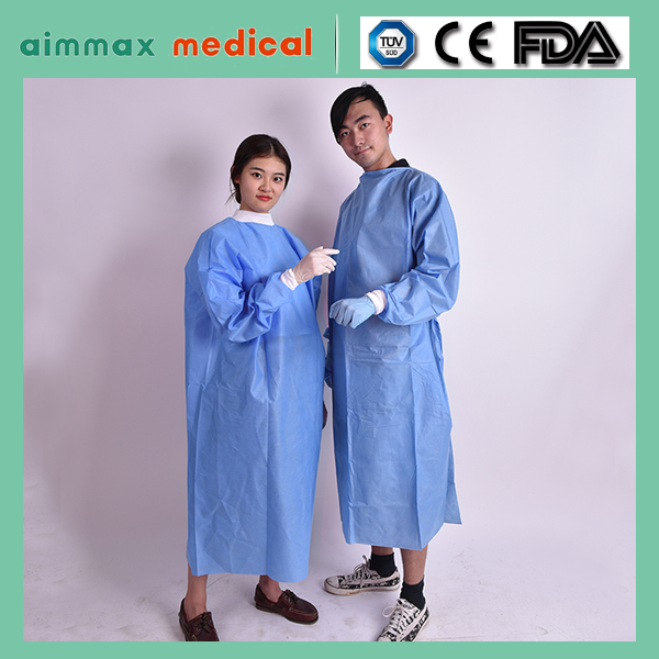 Medical consumables Knitted Cuffs Non Woven PP Surgical Gowns/high quality blue plastic isolation gowns