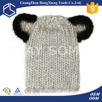 Handmade girl grey imitate animal crochet hat patterns