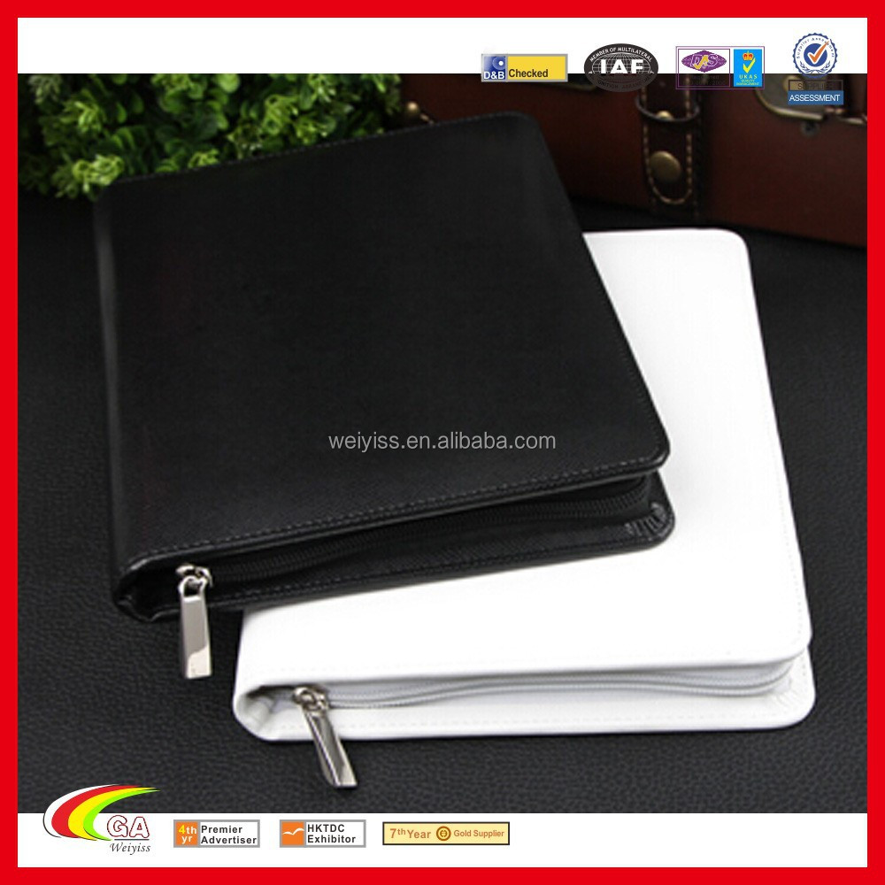 Leahter Portfolio with Pocket for Ipad, Wholesale A4 Folio with Card Slot Cheap