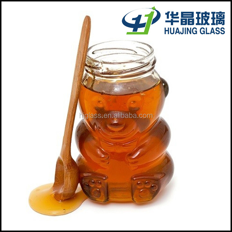 honey jars 8.5oz 250ml bear shape glass bottle with lid and wooden spoon
