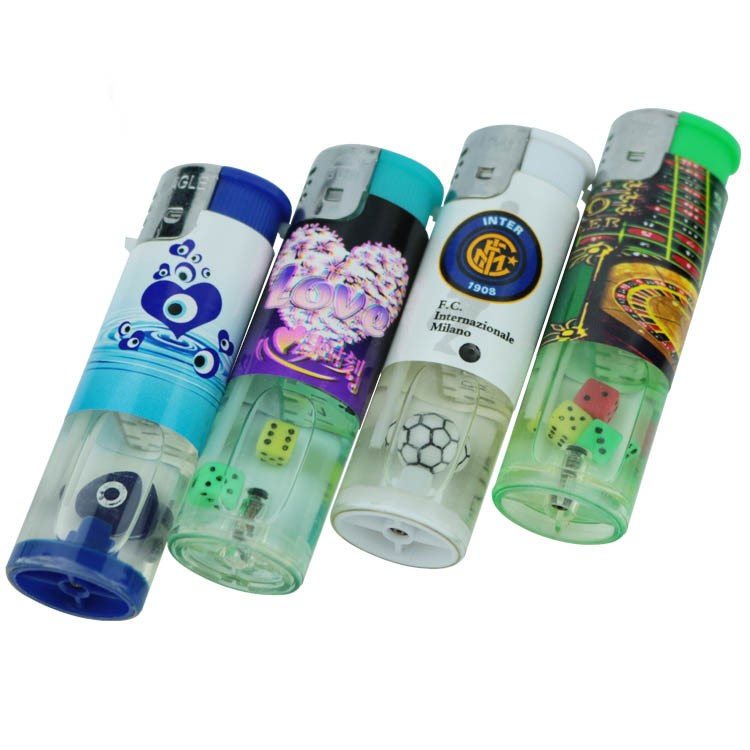 Cover sticker dice gas lighter refillable round cigarette electronic lighter