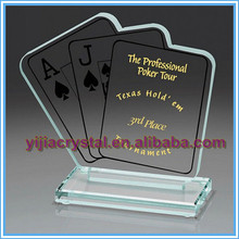 Custom Texas Poker Crystal Honor Awards;Crystal Poker Shape Trophies for Race Events;Optical Crystal Water Drop Poker Souvenir
