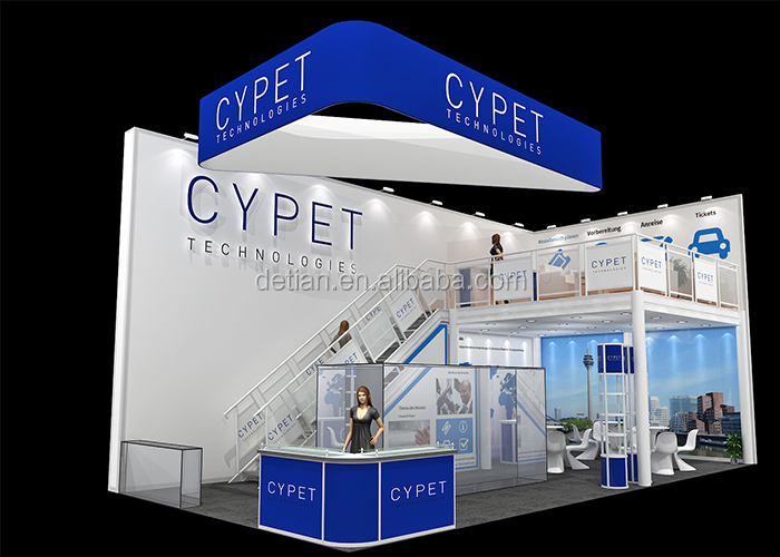Double deck exhibition booths portable trade show exhibition equipment display two story