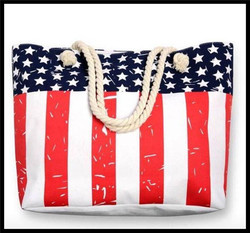 In stock monogrammed canvas Patriotic tote bag