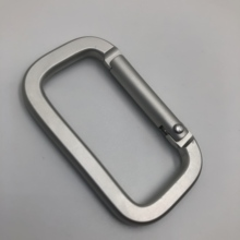Aluminum Rectangle Shaped Silver Travel Camping Hiking <strong>Flat</strong> Carabiner With Wire Gate