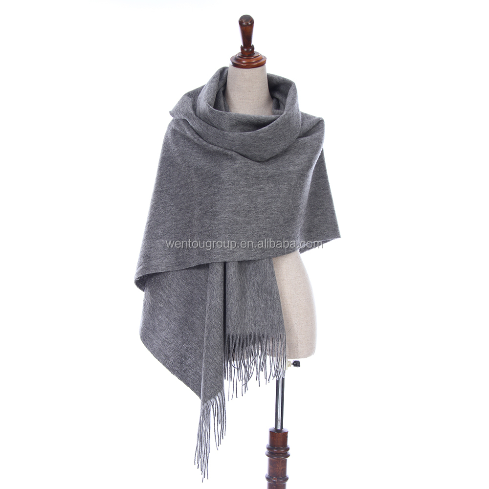Manufacturer Solid Winter High Quality 100% Merino Wool Scarf With 18 Colors