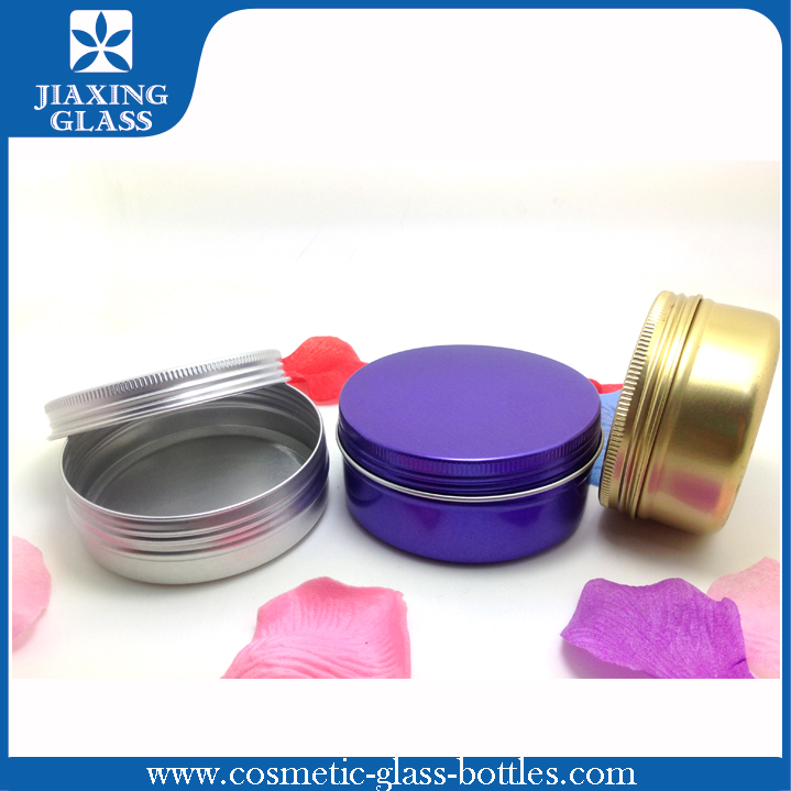 Color Coating Flat Aluminum Tins, Flat Aluminum Jars With Lid For Skin Care