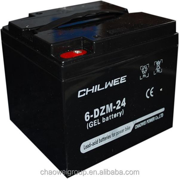 High power and high capacity Maintenance Free (MF) Battery for bicycle, 12V24Ah at 20hours