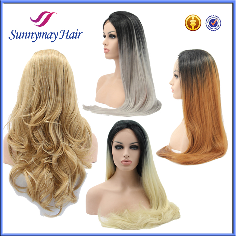 Wholesale 2016 New Style Beauty Stock Ombre Cheap Synthetic Lace Front Wig