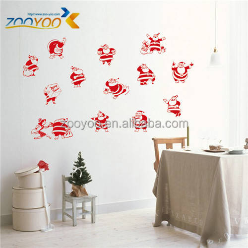 ZooYoo Xmas21 Santa Claus wall sticker art vinyl christmas wall decals for living room