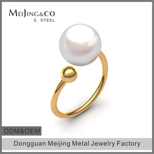 Jewelry Wholesale Stainless Steel Gold Adjustable Pearl Rings