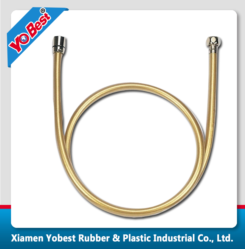 Flexible Square PVC Shower Hose Headshower Hose Shower Tube - 60 Inches (Golden) PVC pipe fitting