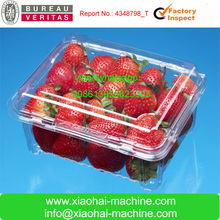 Plastic tray thermoforming food container machine