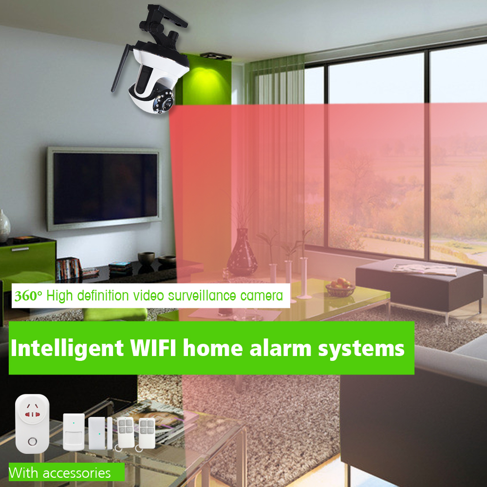 2017 wifi home security ip camera alarm system Support PIR Smoke Detector IP Camera wireless video camera