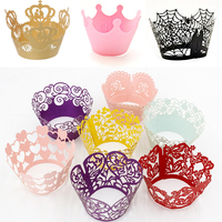 Custom Paper Crown Anengerns Laser Cut Lace Cupcake Wrappers