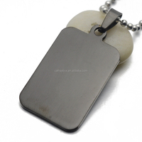 Black Stainless Steel Rectangular Blank Dog Tag with Engraving Charm Pendant