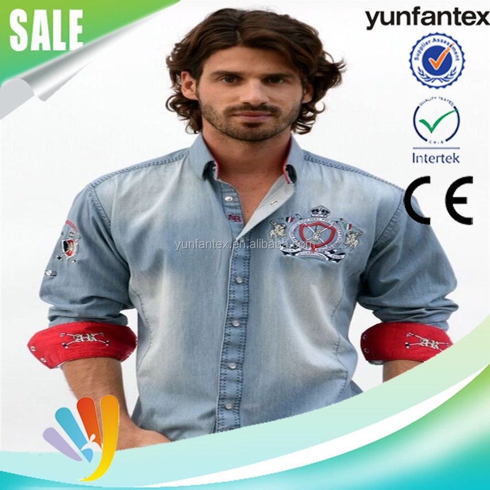 2016 latest 100 cotton denim custom shirts for men wholesale
