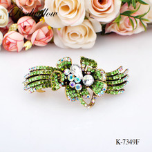 Big White Rhinestone Hair Barrette Korea Style Butterfly Shape Jeweled Barrettes