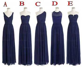 5 Styles Wedding Party One Shoulder Chiffon Floor Length Long Navy Blue Bridesmaid Dresses Wholesale S24