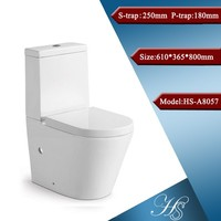HS-A8057 High quality one piece ceramic wall drain toilet