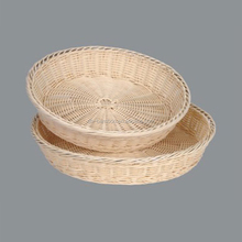 Cheap handmade natural plastic heated rattan flat bread basket wholesale