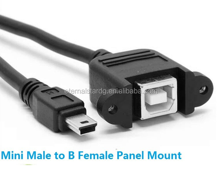 30cm Micro USB Male to Micro USB Female Extension Panel Mount Type Cable with Screws, Data+Charge ,Black