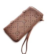 pu leather studded rivets long ladies wallet purses for women with single zipper