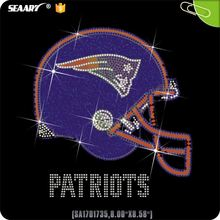 Purple Sports Helmet With Letter Patriots Iron On Rhinestone Transfer