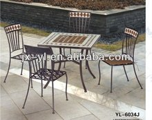 5 pcs mosaic pattern square table and chairs of garden set
