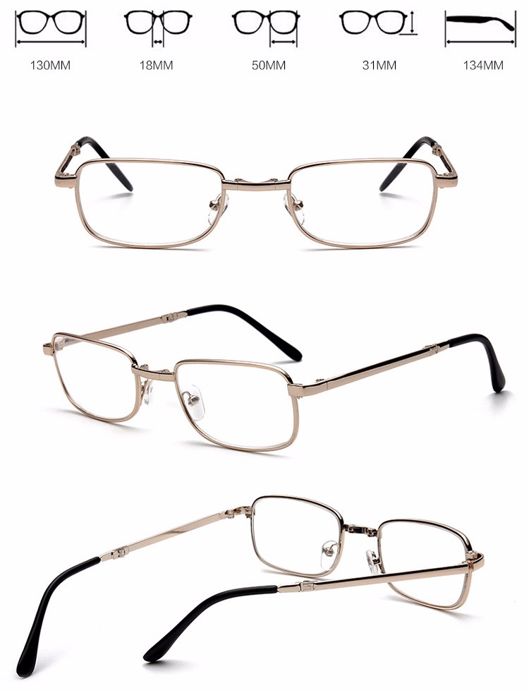 High quality hot sale YNJN new fashion custom logo brand your own metal foldable reading glasses