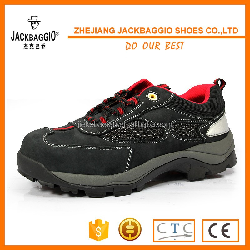 Sporty Black nubuck Leather Steel Toe Safety Shoes