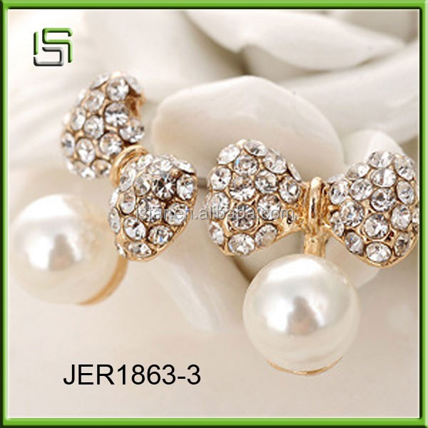 Wholesale new style fashion white knot stud earrings