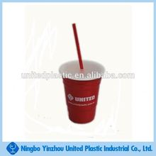 16oz plastic red solo cup with lid and straw