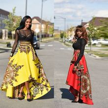 2017 New trend Floral african print party wear bubble women long skirt with kurti
