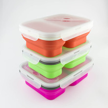 BPA free Silicone 2 compartment meal prep containers food container with spoon set double compartment lunch bag