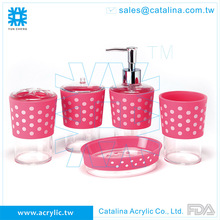 Lovely Design ToothBrush Holder Tumbler Cotton Jar Lotion Dispenser Soap Dish Acrylic Plastic Bathroom Accessory