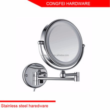 Chrome plated brass wall mounted led light cosmetic mirror