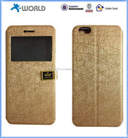 Gold color with window vintage design protective flip leather case for iphone 6