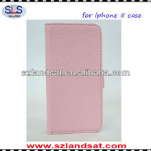 wholesale price credit card slot wallet leather case for iphone5 PIC04