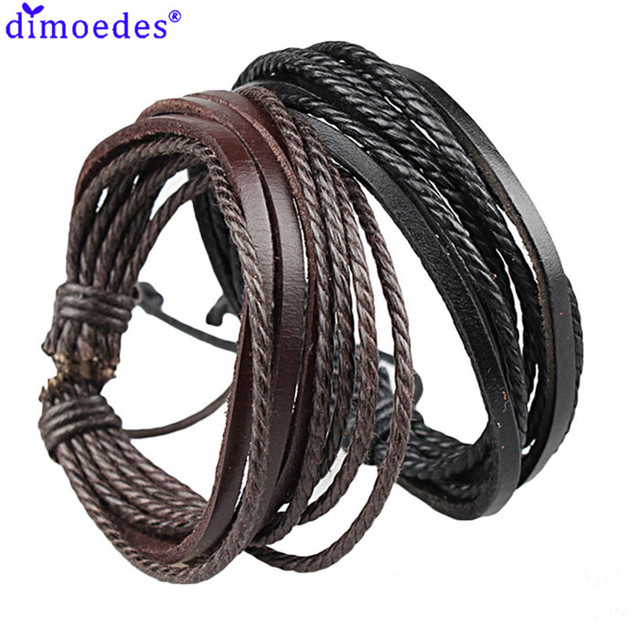 Newly Design HOT Wrap Leather Bracelets & Bangles For Men And Women Black And Brown Braided Rope Fashion Man Jewelry June3
