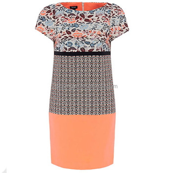 Short sleeve printed women layered color dresses