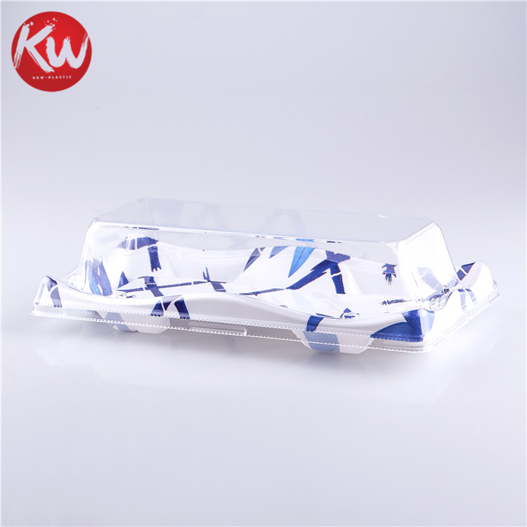KW-0001ZY-B Disposable Plastic PS/BOPS Colorful Printing sushi dishes container for package products