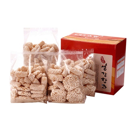 Korean 1200g(300gx4packs) (fried glutinous rice crackers with sesame or beans)